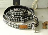 Black & White Houndstooth Tweed Leash